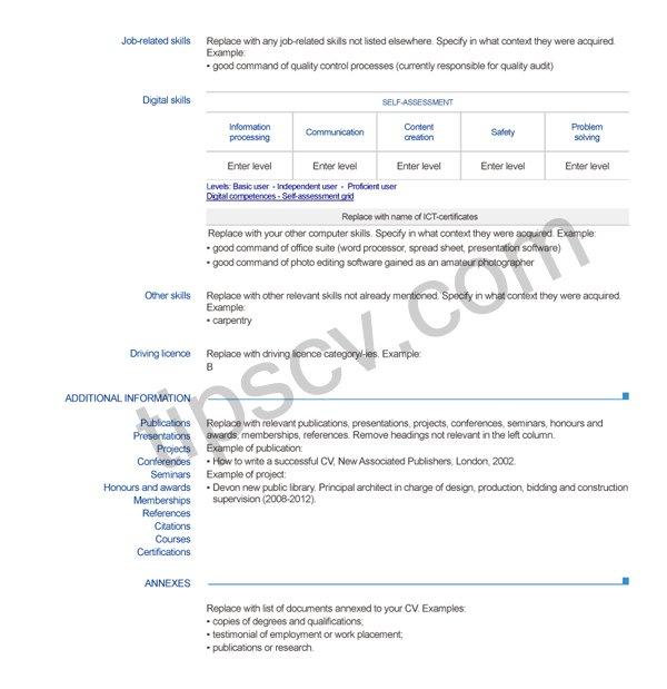 Download Contoh CV Bahasa Inggris Doc Pdf layout2