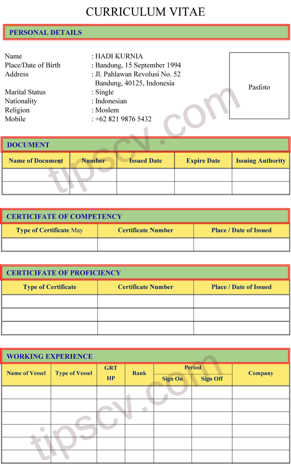 download contoh cv pelaut doc pdf