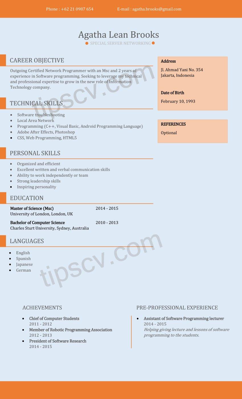 Contoh Cv Menarik Fresh Graduate Format Cv Kosong