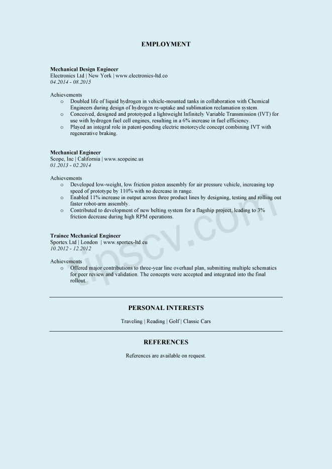 Download Contoh CV Engineer Teknik Mesin