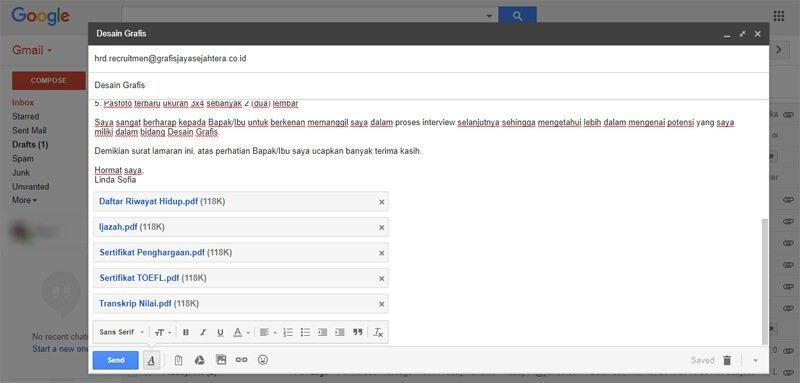 Contoh Surat Lamaran Kerja Lewat Email