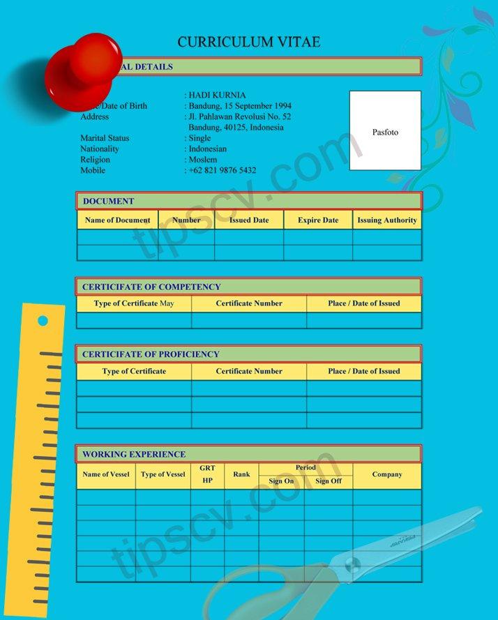 Contoh layout cv pelaut