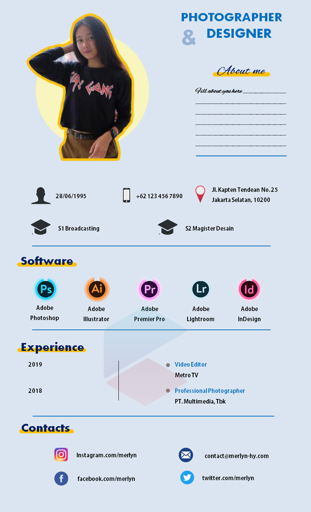 Layout CV Fotografer