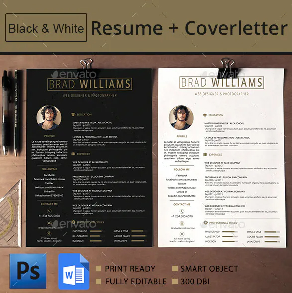black and white resume layout format cv profesional