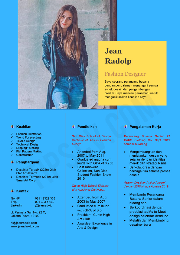 Format CV Kosong Modern #1 (Download template resume format .docword)